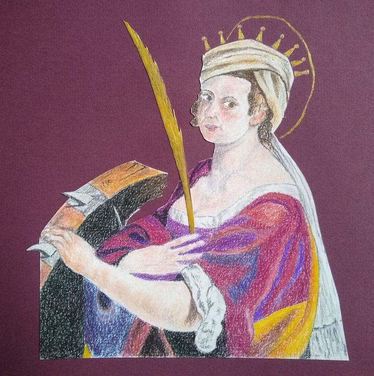 Self portrait of woman artist